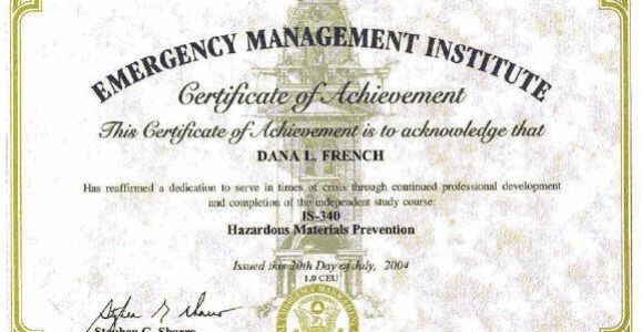 Hazmat Training Certificate Template Certifications Mt Xia Resume Of Dana French Business