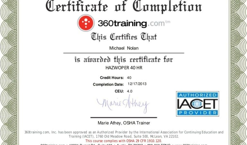 hazmat certificate training hazwoper template hr williamson ga tablet