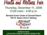 Health and Wellness Flyer Template Health and Wellness Fair at Zermatt Resort the Zermatt
