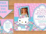 Hello Kitty Thank You Card Hello Kitty Invitation Hello Kitty Birthday Hello Kitty