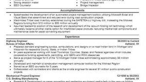 Highway Engineer Resume Highway Engineer Resume Sample Technical Resumes