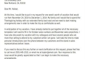 Holiday Request Email Template Leave Request Email to Manager for Vacation