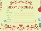 Homemade Christmas Gift Certificates Templates Xmas Gift Certificate Template Invitation Template