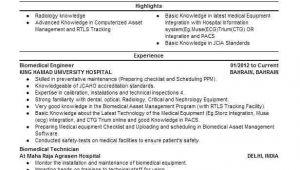 Hospital Biomedical Engineer Resume Biomedical Engineer Resume Sample Engineering Resumes