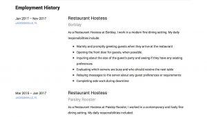 Hostess Job Application Resume Restaurant Hostess Resume Sample Guide Resumeviking Com