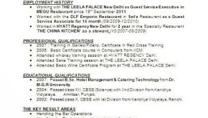Hotel Management Fresher Resume format Image Result for Resume format for Hotel Management