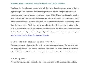 How to Prepare A Cover Letter for A Job How to Write A Cover Letter for A Resume