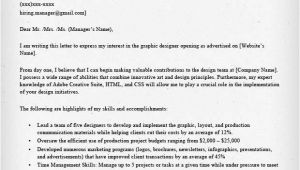 How to Write A Cover Letter for A Design Job Graphic Designer Cover Letter Samples Resume Genius