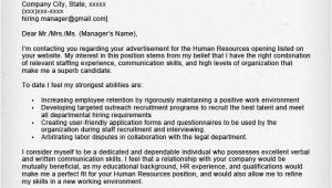 How to Write A Cover Letter for Hr Position Human Resources Cover Letter Sample Resume Genius