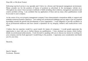 How to Write A Cover Letter for Management Position Property Manager Cover Letter