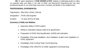 Hvac Engineer Resume Doc Hvac Engineer Resume
