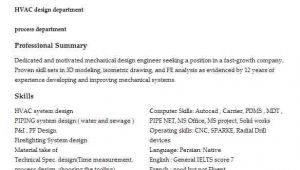 Hvac Engineer Resume Hvac Mechanical Engineer Resume Sample Livecareer
