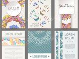 Id Card Background Design Hd Set Of Vector Design Templates Brochures In Random Flower Style