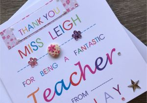 Ideas for A Thank You Card for A Teacher Thank You Personalised Teacher Card Special Teacher Card