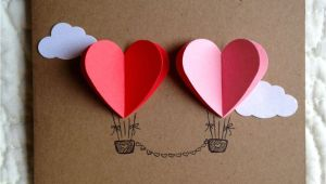 Ideas for Wedding Anniversary Card Couple Heart Hot Air Balloon Card Red Pink Cards