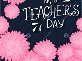 Images Of Teachers Day Card Photo About Vector Hand Drawn Lettering with Flowers and