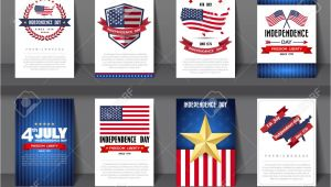 Independence Day Greeting Card Designs Set Of Greeting Card Independence Day Background Vector Illustration