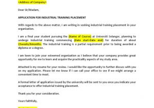 Industrial Placement Cover Letter Example Of Application for Industrial Training Placement