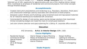 Interior Design Resume Templates Interior Design Resume Sample Monster Com