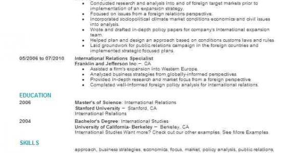 International Relations Student Resume International Relations Specialist Resume Sample Livecareer