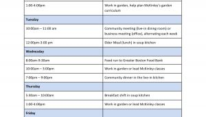 Internship Schedule Template Internships Haley House