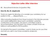 Interview Rejection Email Template Rejection Letters 20 Free Samples formats for Hr