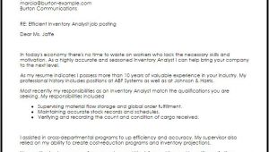 Inventory Analyst Cover Letter Inventory Analyst Cover Letter Sample Cover Letter