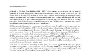 Investor Email Template Investment Opportunity Letter