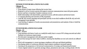 Investor Relations Resume Sample Investor Relations Manager Resume Samples Velvet Jobs