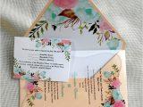 Invitation Card Content for Wedding Custom Color and Content Flora Wedding Invitation Card