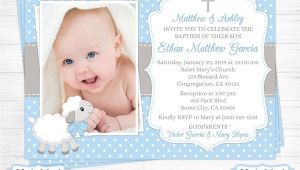 Invitation Card for Christening Background Lamb Baptism Invitation Boy First 1st Birthday Christening