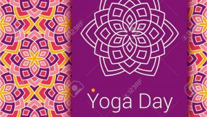 Invitation Card for Yoga Day Stock Photo