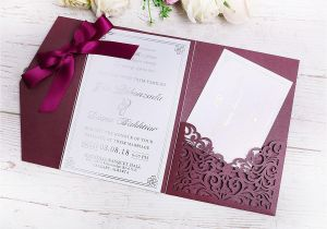 Invitation Card Size In Cm 2019 New 3 Folds Wedding Burgundy Invitations Cards with