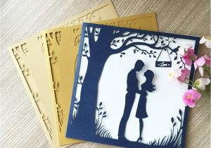 Invitation Card Size In Cm Luxury Blue Lovers Meet Under the Big Tree Wedding Invitation Marriage Annivery Birthday Party Business Card E Greetings Card E Greetings Cards From