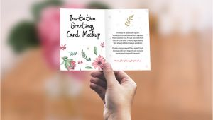 Invitation Card Size In Pixels Invitation Greeting Card In Hand Mockup Psd Graphicsfuel