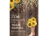 Invitation Card Yellow 60th Birthday Rustic Sunflower Boots Glitter 70th Birthday Invitation