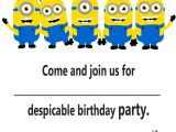 Invitation Happy Birthday Card Template Minion Invitation Printable Templates with Images Minion