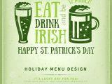 Irish Menu Templates Beer Party Invitation Irish Typography Emblem Stock