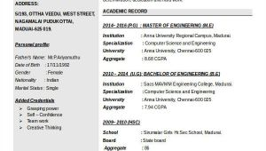 It Fresher Resume format Doc It Fresher Resume 6 Free Word Pdf Documents Download