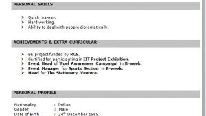 It Fresher Resume format Download It Fresher Resume format In Word