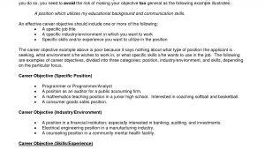 It Resume Objectives Samples Career Objective On Resume Template Resume Builder