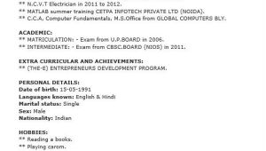 Iti Electrician Fresher Resume format 40 Fresher Resume Examples