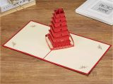 Japanese Maple Pop Up Card Diy 3d Pop Up Greeting Card Chinese Character Building Big Wild Goose Pagoda Greeting Card tourist Greeting Card Birthday Card Commemorative Card Gift