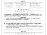 Job Description Of Emt Basic for Resume Emt Resume Sample Monster Com