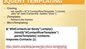 Jquery Templating Jquery Templating and Datalinking