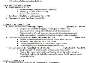 Junior Student Resume Junior High School Teacher Resume Example Math and Science