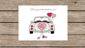 Just Married Card Wedding Car Wedding Card Bride and Groom Card Celebration Card Just