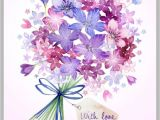 Kate Spade Happy Birthday Card Bouquet Tag Valentines Watercolor Floral Painting