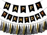 Kate Spade Happy Birthday Card Happy Birthday Banner Black and Gold 15 Pcs Tissue Paper Garland Birthday Party Decorations Set Color Variations Black by Ibb