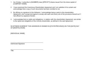 Key Holding Contract Template Adhesion to the Unanimous Shareholder Agreement Template